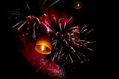Firework  and hot-air balloon Royalty Free Stock Image