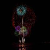 Firework on Hua Hin beach. Firework at night on Hua Hin beach, New Year celebration stock photos