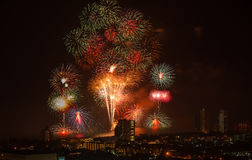 Firework of HuaHin Countdown on new year's eve, Thailand Stock Image