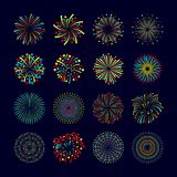 Firework Icon Flat Set. Party and holiday event firework icon flat set isolated vector illustration Royalty Free Stock Photography
