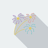 Firework. Icon. Flat vector related icon with long shadow for web and mobile applications. It can be used as - logo, pictogram, icon, infographic element Stock Image