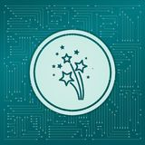 Firework icon on a green background, with arrows in different directions. It appears the electronic board. Firework icon on a green background, with arrows in Royalty Free Stock Images