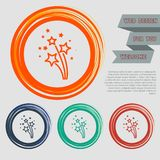 Firework icon on the red, blue, green, orange buttons for your website and design with space text. Illustration Royalty Free Stock Photo