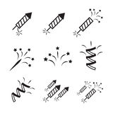 Firework icon set with petard and stars Royalty Free Stock Photography
