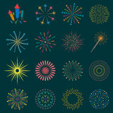 Firework icon set with petard, stars. Festival Royalty Free Stock Photos