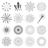 Firework icon set with petard, stars. Festival Royalty Free Stock Photo