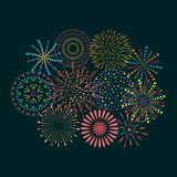 Firework icon set with petard, stars. Festival and event Stock Photo