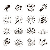 Firework icon set , vector. Firework icon set with petard, stars. Festival and event, celebrate and party. Vector Stock Images