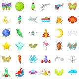 Firework icons set, cartoon style. Firework icons set. Cartoon style of 36 firework vector icons for web isolated on white background Royalty Free Stock Image