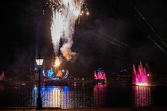 Firework on IllumiNations Reflections of Earth in Epcot at Walt Disney World Resort 11. Orlando, Florida. May 16, 2019. Firework on IllumiNations Reflections of royalty free stock photography