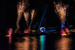 Firework on IllumiNations Reflections of Earth in Epcot at Walt Disney World Resort 5. Orlando, Florida. May 28, 2019. Firework on IllumiNations Reflections of royalty free stock photography