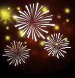 Firework. Illustration of firework  background on night scene Stock Photo