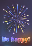 Firework illustration - be happy! Royalty Free Stock Image