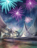 Firework illustration. With cityscape and fountain Stock Photo