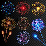 Firework illustrations. Collection of high detail vector illustrations of colorful realistic fireworks Stock Photo