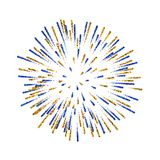 Firework isolated. Beautiful salute on white background. Bright firework decoration for Christmas card, Happy New Year. Celebration, anniversary, festival stock illustration