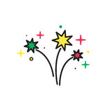 Firework Isolated on White Background. Vector illustration. Colorful Bright Firework Isolated on White Background. Firework silhouette icon. Firework vector Royalty Free Stock Photo