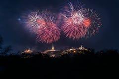 Firework at Koh Wang, Landmark of Phetchaburi province, Thailand Royalty Free Stock Images