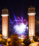 Firework in La Merce Festival at Barcelona Stock Photos