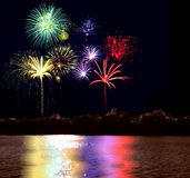 Firework and lake Stock Photo