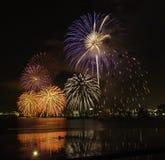 Firework on the Lake Stock Photo