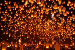 Firework lantern Festival in Chiangmai Royalty Free Stock Photos