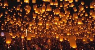 Firework lantern Festival in Chiangmai Stock Photography