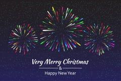 Firework, light effects  on dark background. Holiday fireworks. Vector illustration Stock Photography
