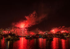 Firework and light show during International fleet review in Syd Royalty Free Stock Photos