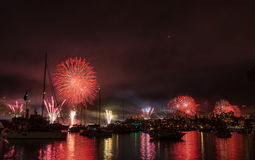 Firework and light show during International fleet review in Syd Royalty Free Stock Photo