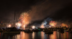 Firework and light show during International fleet review in Syd Stock Photography