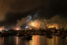 Firework and light show during International fleet review in Syd Royalty Free Stock Photography