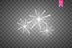 Firework lights effect with glowing stars in sky isolated on transparent background. Vector white festive party rocket. Burst or salute show for your design Royalty Free Stock Images