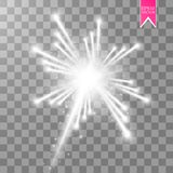 Firework lights effect with glowing stars in sky isolated on transparent background. Vector white festive party rocket. Burst or salute show for your design Royalty Free Stock Photo