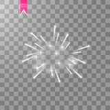 Firework lights effect with glowing stars in sky isolated on transparent background. Vector white festive party rocket. Burst or salute show for your design Stock Images