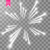 Firework lights effect with glowing stars in sky  on transparent background. Vector white festive party rocket. Burst or salute show for your design. eps 10 Royalty Free Stock Photo
