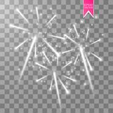 Firework lights effect with glowing stars in sky  on transparent background. Vector white festive party rocket. Burst or salute show for your design. eps 10 Royalty Free Stock Photography