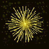 Firework Lights up the Sky. On Black Background Stock Images