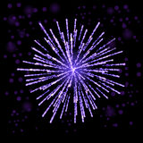 Firework Lights up the Sky on Black. Background Stock Photos