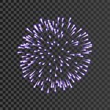 Firework lilac bursting isolated transparent background. Beautiful night fire, explosion decoration, holiday, Christmas. New Year. Symbol festival, American Stock Photos