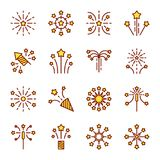 Firework line icon. Petard, stars, festival and event, celebrate and party Stock Photo