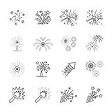 Firework line icon set 8, vector eps10.  Royalty Free Stock Image