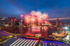 Firework at Marina bay on Singapore National Day 2015 SG50 Stock Photography