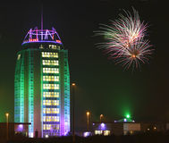 Firework an modern building Royalty Free Stock Photos