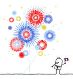 Firework & national day. Vector hand drawn cartoon characters Stock Image