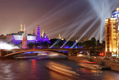 Firework near Moscow Kremlin Stock Images