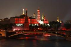 Firework near Moscow Kremlin Stock Photos