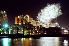 Firework near resort hotels, Eilat, Israel Royalty Free Stock Images