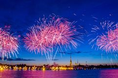 Firework on the Neva River near the Peter and Paul Fortress at night in the city of Saint-Petersburg. Firework on the Neva River near the Peter and Paul Royalty Free Stock Image