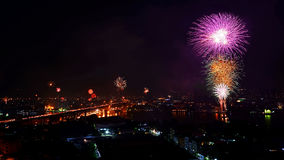 Firework for New year celebratoin at Bangkok, Royalty Free Stock Photos